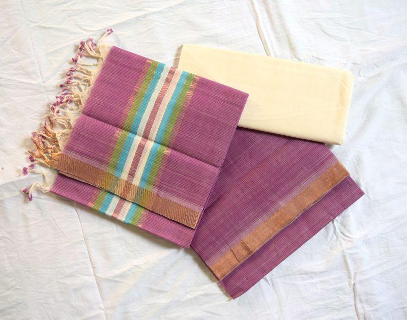 Mangalagiri light purple Color Cotton Dress material-5