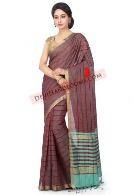 Mangalagri handloom cotton saree in maroon - front view