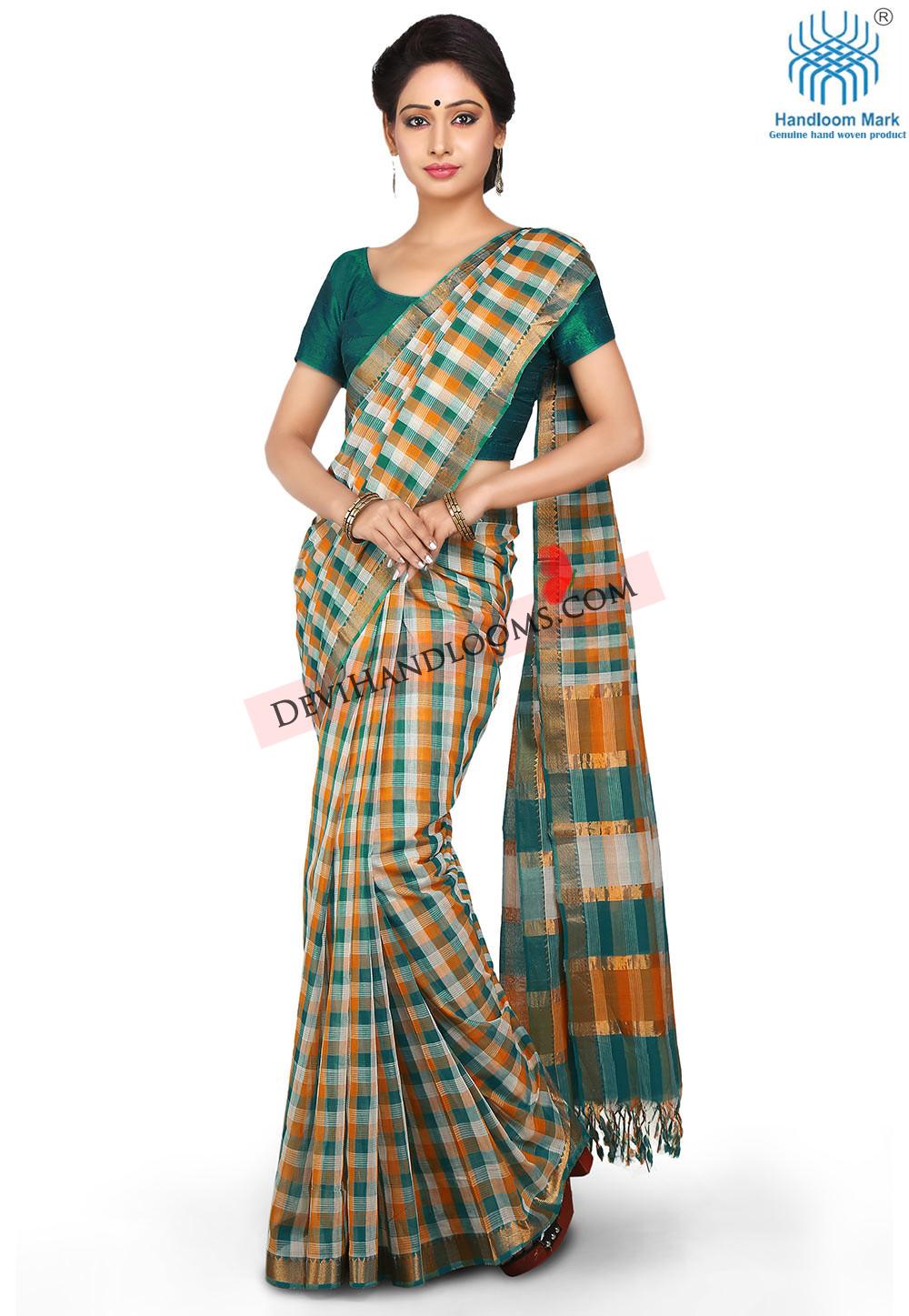 multi-color-checks-mangalagiri-handloom-cotton-saree-with-blouse-2