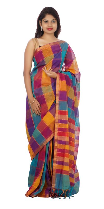 Multi Color Mangalagiri Handloom Cotton Saree-front view