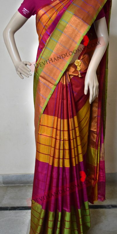 multi-color-uppada-pure-silk-saree-front-view