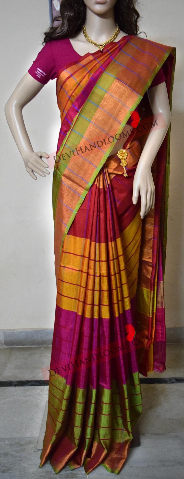 multi-color-uppada-pure-silk-saree-front-view
