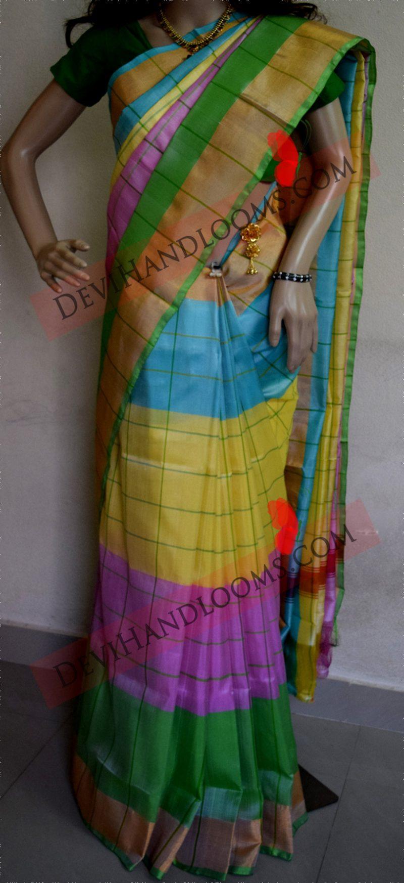 Multi color uppada silk saree full vieww