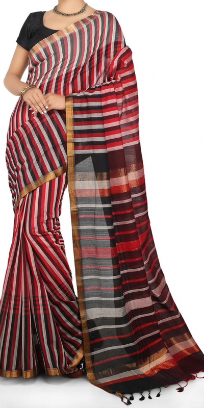 multicolor-mangalagiri-stripes-cotton-saree-front-view