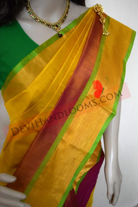 6c8724c96b Uppada Yellow with Red Color Silk Saree with Gold border – Devi Handlooms –  Handwoven Cotton and Silk Sarees