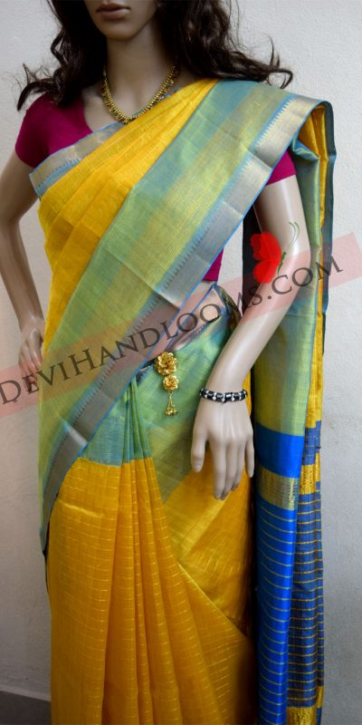 Mustard yellow mangalagiri semi silk saree-3