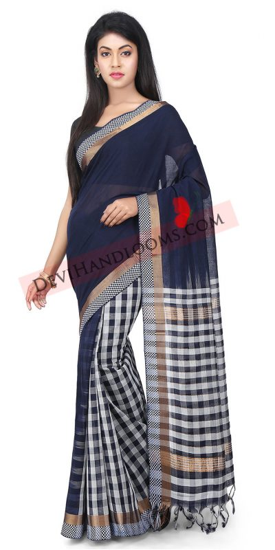 Navy Blue Mangalagiri Handloom cotton saree full image