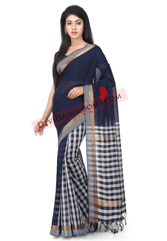 Navy Blue Mangalagiri Handloom cotton saree full image