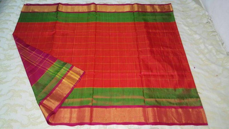 Orange Pink Uppada Checks silk saree