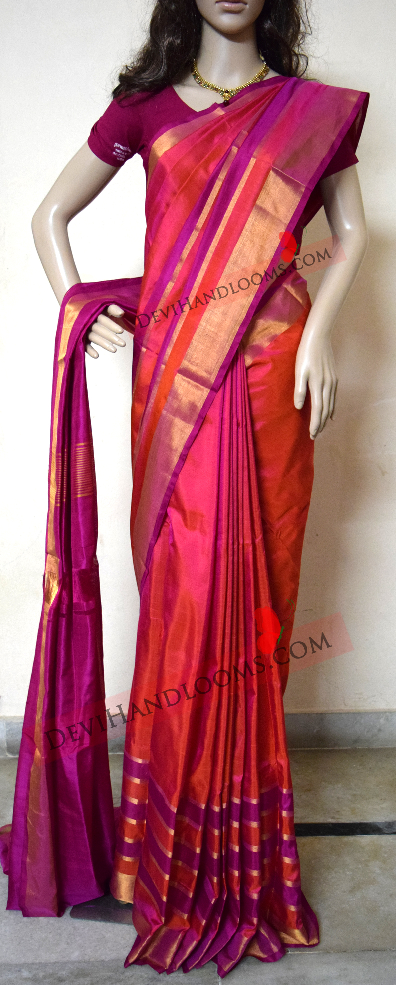 d47723d035 Uppada Orange with pink Color Silk Saree with Gold border – Devi ...