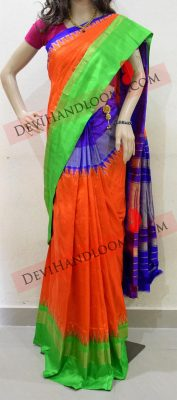 Orange pochampally silk saree-3