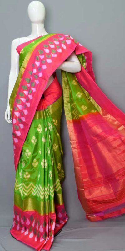 Parrot green Pochampally ikkath silk saree