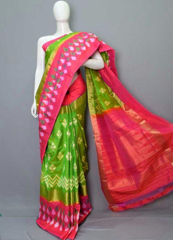 Parrot green Pochampally ikkath silk saree