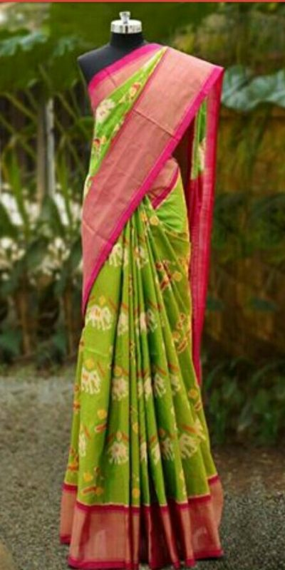 ParrotGreen Pochampally Ikkath Silk saree-1