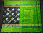 Pochampally Black Color Elephant and Parrot Motifs Ikkat Silk saree234