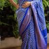 Pochampally Blue Color with Diamond motifs woven Ikkat Silk saree-1