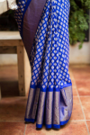 Pochampally Blue Color with Diamond motifs woven Ikkat Silk saree-2