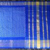 Pochampally Blue Color with Diamond motifs woven Ikkat Silk saree-3