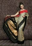 Pochampally Ikkath Black and white diamond design woven Silk saree-3