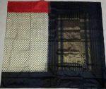 Pochampally Ikkath Black and white diamond design woven Silk saree-4