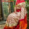 Pochampally Ikkath off white Red Chevron silk saree-2