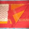 Pochampally Ikkath off white Red Chevron silk saree-3