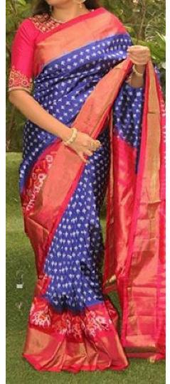 Pochampally Navy blue with Rani pink border Ikkat Silk saree-1