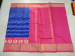Pochampally Navy blue with Rani pink border Ikkat Silk saree-2