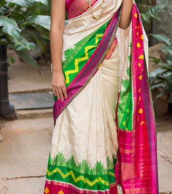 Pochampally Off White with Multi Color Border Ikkath Silk saree-2