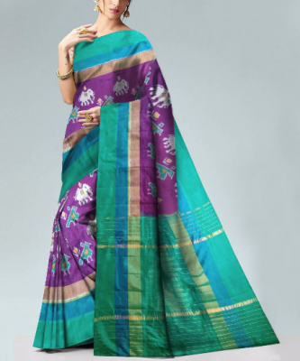 Pochampally Purple Color with elephant and parrot motifs Ikkath Silk saree-1
