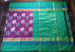 Pochampally Purple Color with elephant and parrot motifs Ikkath Silk saree-2