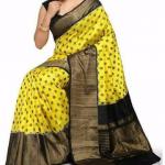 Pochampally Yellow with black zari border Ikkat Silk saree-1