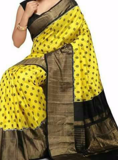 Pochampally Yellow with black zari border Ikkat Silk saree-1