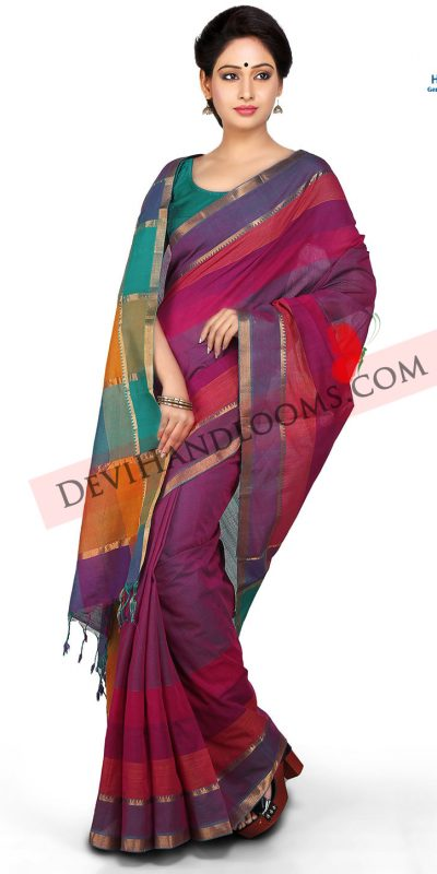 Purple Color Mangalagiri Cotton Saree - front view
