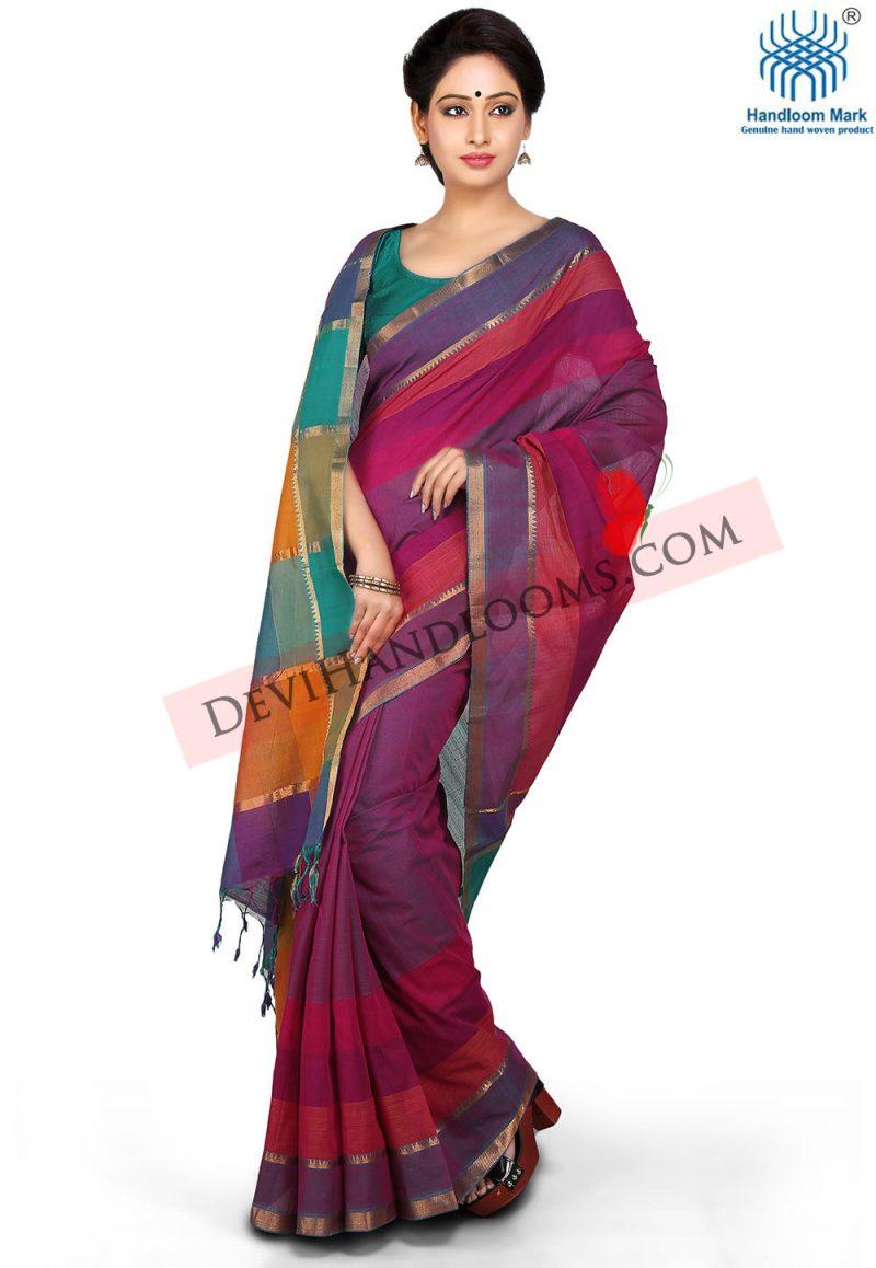 Purple Color Mangalagiri Cotton Saree - front view