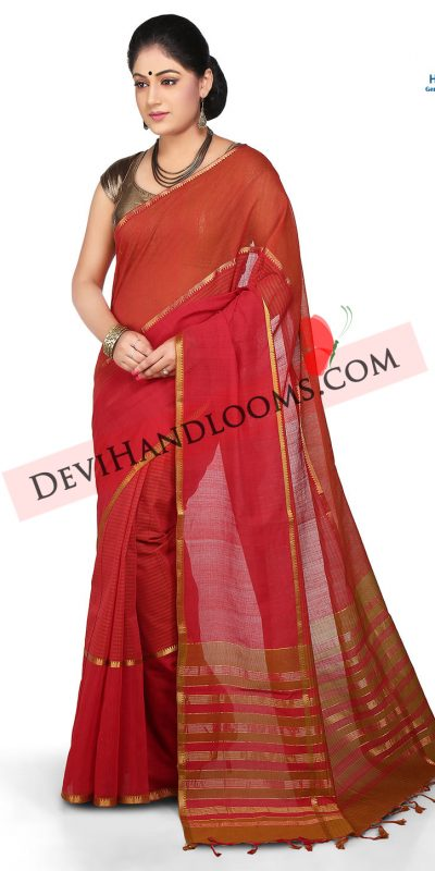 Red color mangalgiri cotton saree - front view
