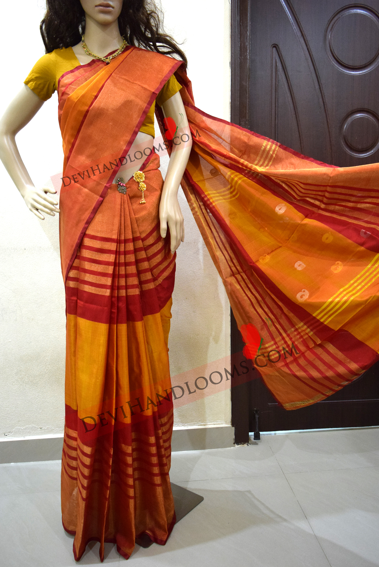 red-with-orange-color-uppada-silk-saree