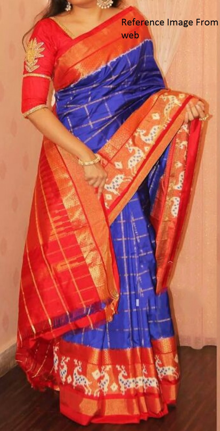 Royal Blue Ikkath Silk saree