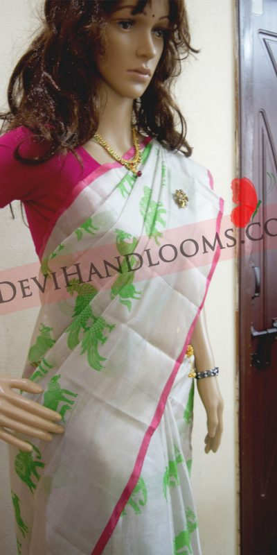 Silver-Color-Block-painted-Uppada-Silk-Saree-2