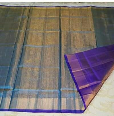 Sky blue full tissue silk saree
