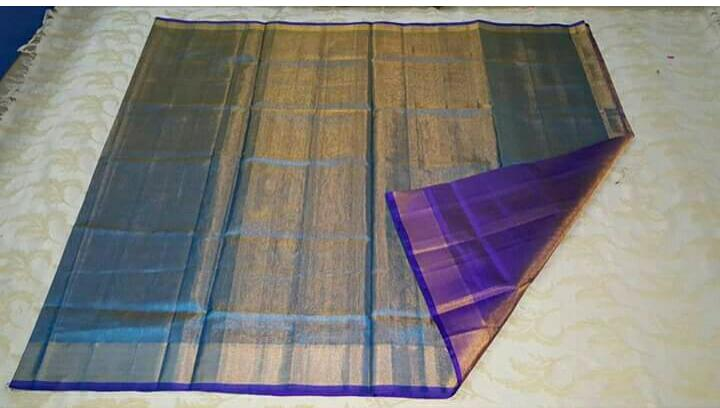 Sky blue full tissue silk saree