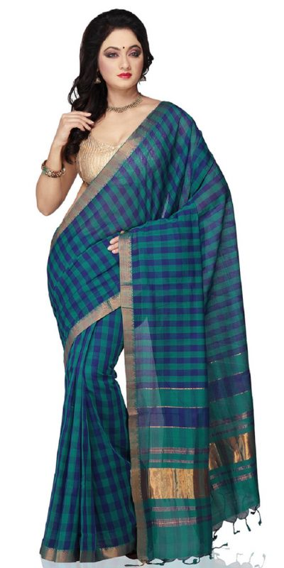 Teal Blue Color Mangalagiri Handloom Cotton Saree - front view
