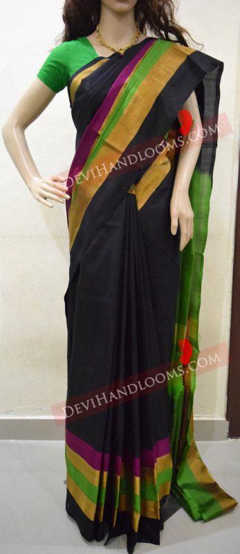 uppada-black-color-saree-with-multi-color-border
