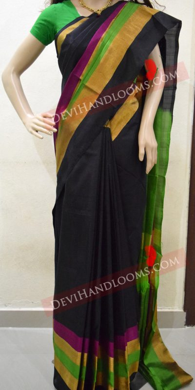 uppada-black-color-saree-with-multi-color-border