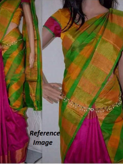 Uppada Half and half multi color checks silk saree-1
