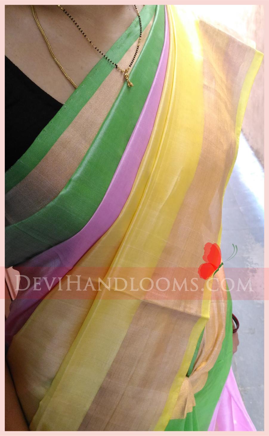 Uppada Multi Color Handloom Saree - 1