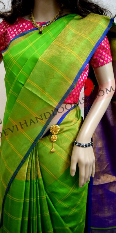 Uppada Parrot Green double checks Big Border Silk Saree-1