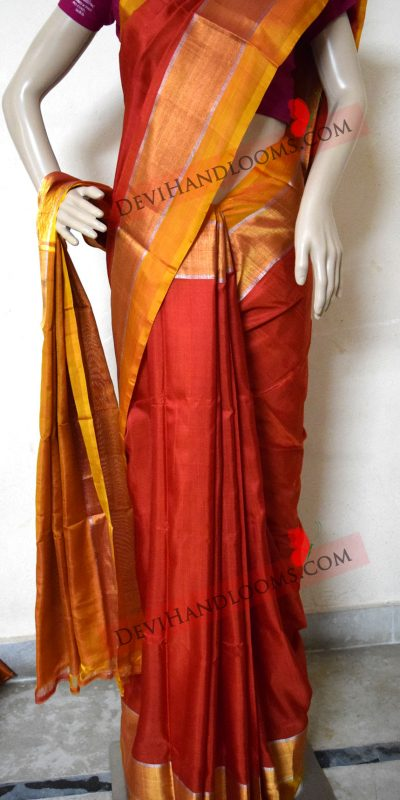 uppada-red-with-mustard-yellow-plain-silk-saree-front-view