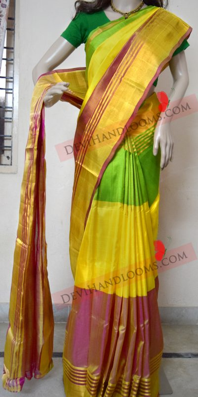 uppada-three-colors-pure-silk-saree-front-view