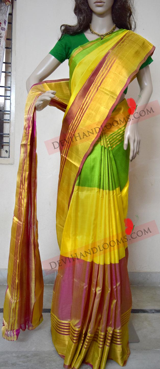 uppada-three-colors-pure-silk-saree-front-view